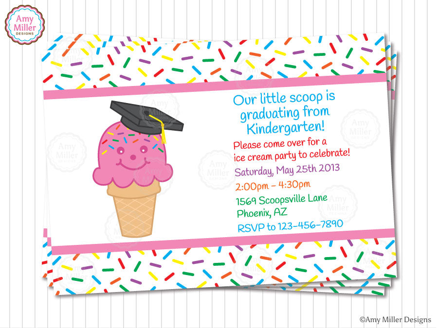 Ice Cream Cone Kindergarten Graduation Invitation by Amy Miller Designs