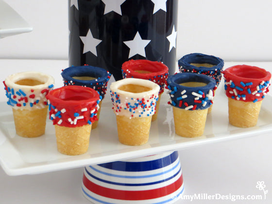 White Chocolate Dipped 4th of July Mini Ice Cream Cones by Amy Miller Designs