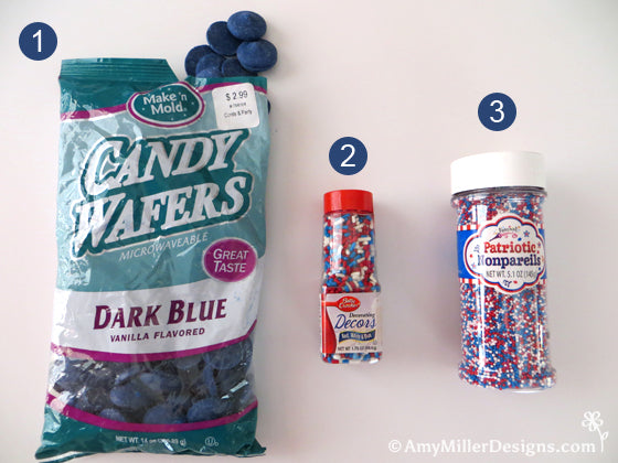 Navy candy melts and red white and blue sprinkles by Amy Miller Designs