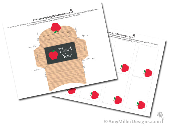 printable teacher appreciation gift card holder and note card by Amy Miller Designs