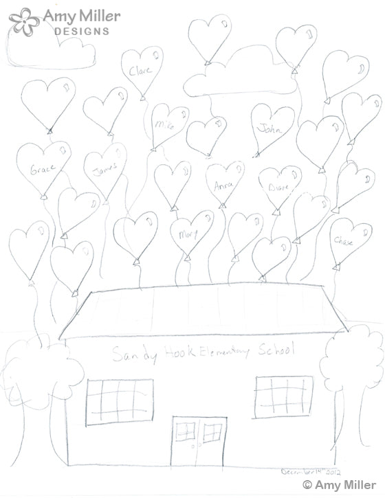 Sandy Hook Artwork Sketch by Amy Miller Designs