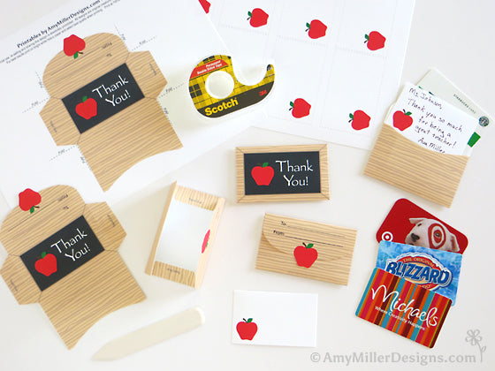 Free printable teacher appreciation gift card holder and note card by Amy Miller Designs