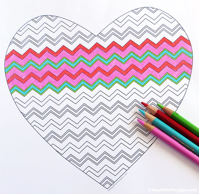 Good Chevron Heart Coloring Page