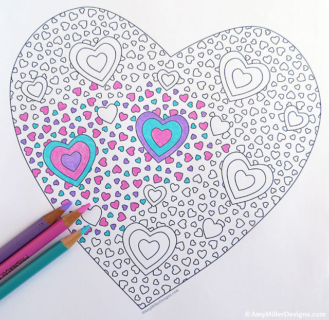 Valentine\'s Day Heart Coloring Pages | Amy Miller Designs
