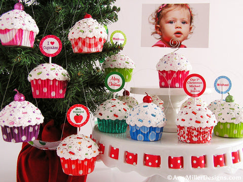 Our First Christmas Red and White Swirly Stripe Mini Faux Cupcake Ornament