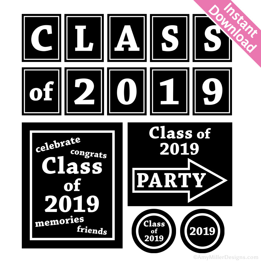 photo about Printable Graduation Decorations referred to as 2019 Commencement Decorations Do-it-yourself Printables
