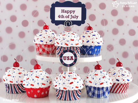 4th of July Mini Faux Cupcake Photo Note Holder