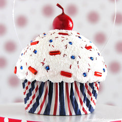 4th of July Red White and Blue Stripe Mini Faux Cupcake Decoration