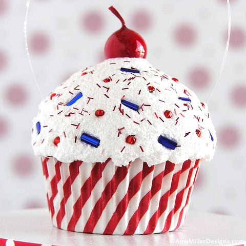 4th of July Red Stripe Mini Faux Cupcake Decoration