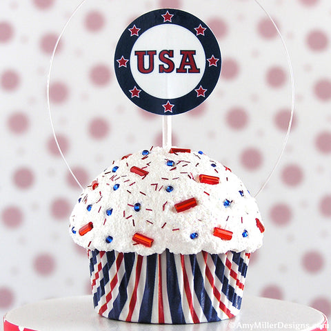 4th of July Red White and Blue USA Stripe Mini Faux Cupcake Decoration