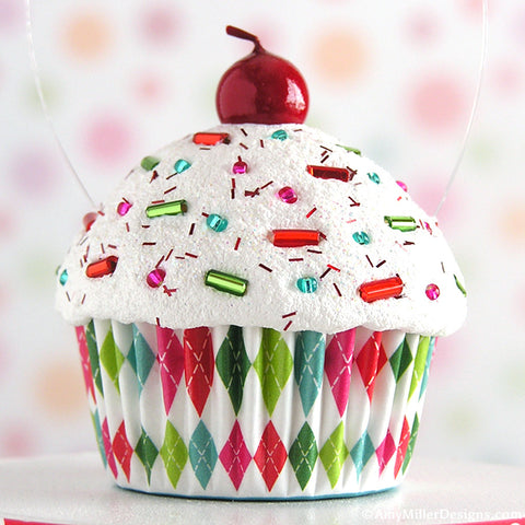 Bright Argyle Mini Faux Cupcake Decoration