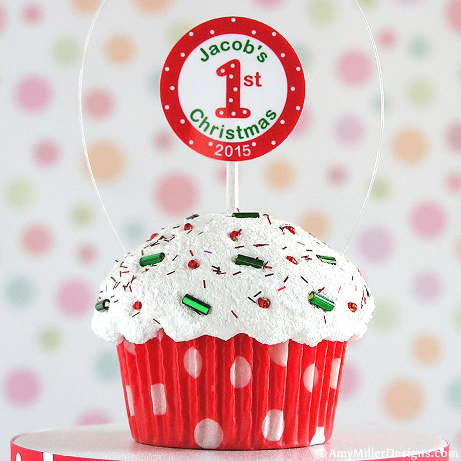 Polka dot christmas ornaments -  Baby S First Christmas Polka Dot Mini Faux Cupcake Ornament