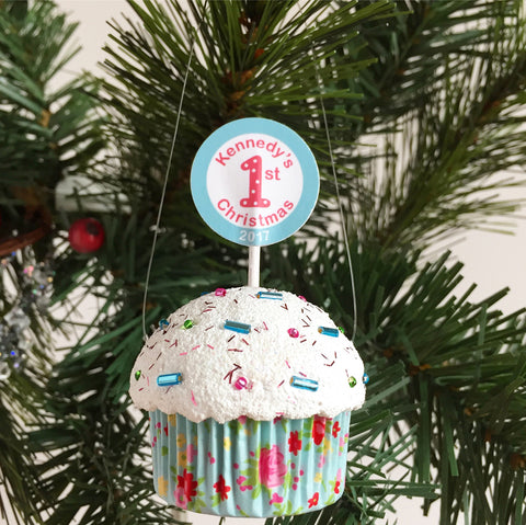 Personalized Baby Girls First Christmas Ornament Cupcake
