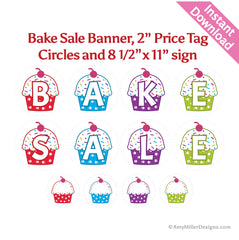 Bake Sale Cupcake Banner Kit