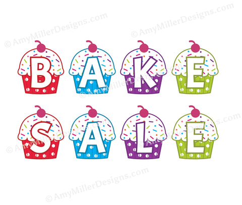 Bake Sale Rainbow Cupcake Banner Kit