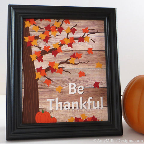 Be Thankful Wooden Plank Fall Artwork