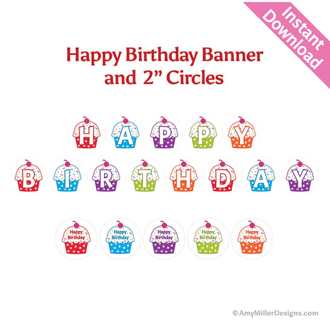 Happy Birthday Rainbow Cupcake Banner