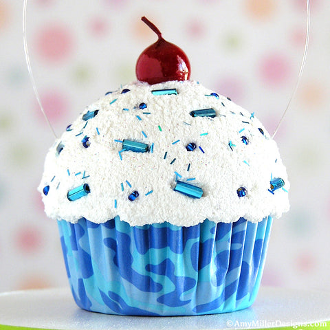 Blue Camouflage Mini Faux Cupcake Decoration