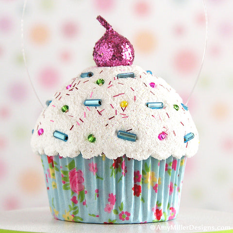 Light Blue Floral Mini Faux Cupcake Decoration