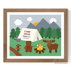 Forest Animal Camping Kids Room Artwork