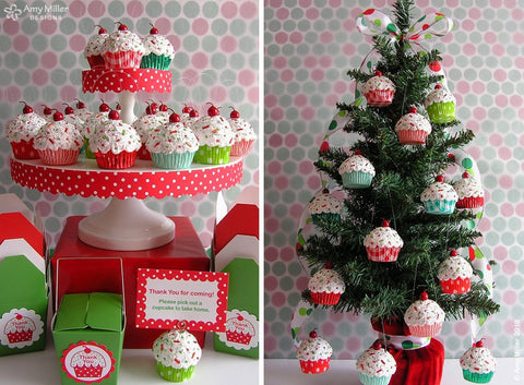 Family Name Christmas Stripe Mini Faux Cupcake Ornament