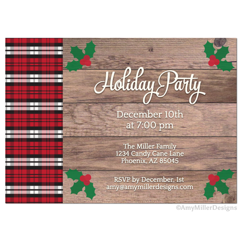 Holiday Party barn wood Invitation