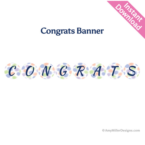 Congrats Watercolor Banner