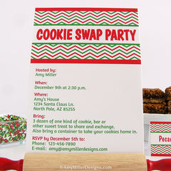 Cookie Swap Invitation - DIY Printable - Chevron Pattern