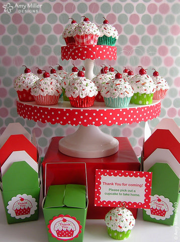 Red and Green Swirly Stripe Mini Faux Cupcake Decoration