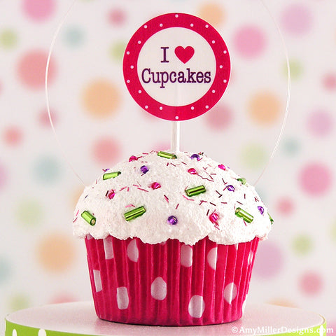 I Love Cupcakes Dark Pink Mini Faux Cupcake Decoration