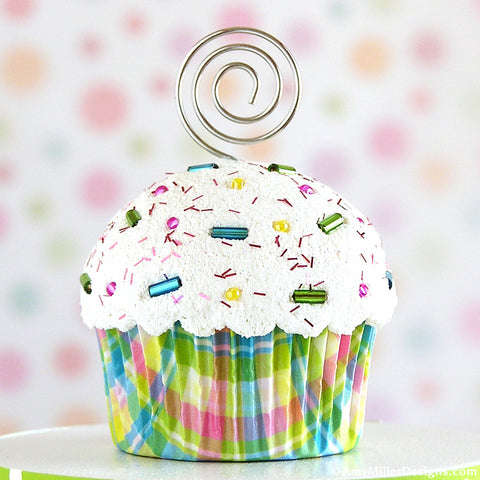 Easter Pastel Plaid Mini Faux Cupcake Photo Note Holder