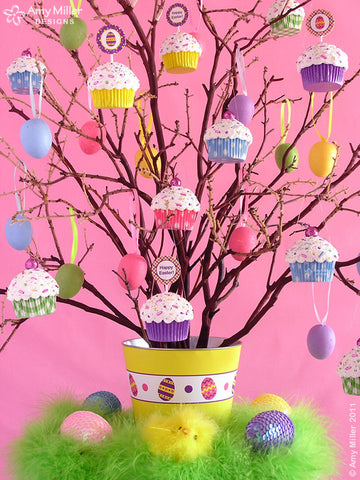 Pastel Plaid Mini Faux Cupcake Decoration