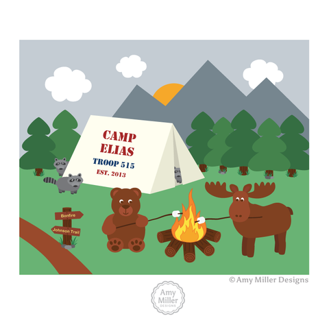 Camping Forest Animal Art Print
