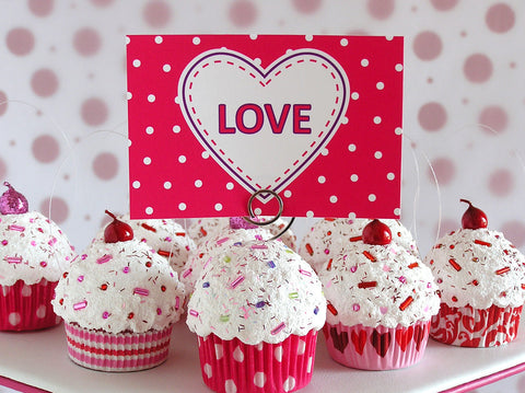 Valentine's Day White Hearts Mini Faux Cupcake Photo Note Holder