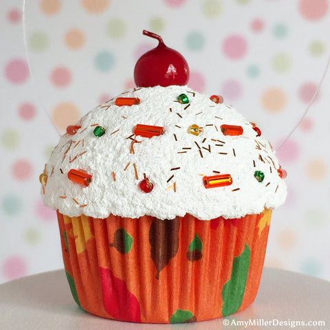 Fall Leaf Cupcake Tree Ornament