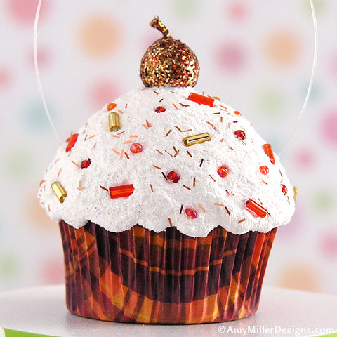 Fall Plaid Mini Faux Cupcake Decoration