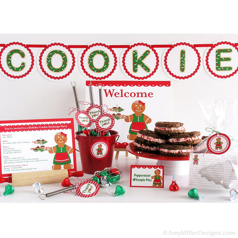 Holiday Cookie Exchange Party DIY Printable Kit - gingerbread woman theme