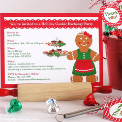 Holiday Cookie Exchange Party DIY printable invitation - gingerbread woman theme
