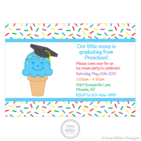 Preschool or Kindergarten Graduation DIY printable custom invitation - Ice Cream Cone