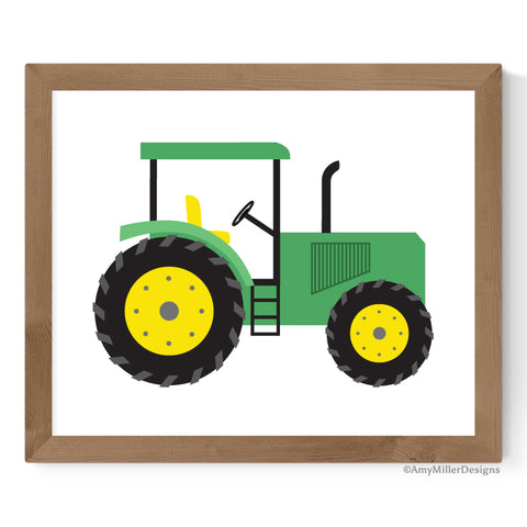 green tractor artwork for boys room