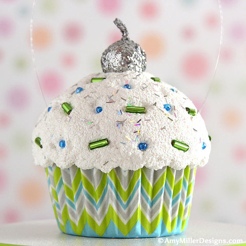 Green Blue and Grey Chevron Mini Faux Cupcake Decoration