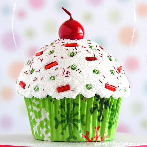 Christmas Snowflake Mini Faux Cupcake Decoration