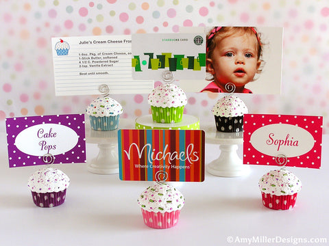 Christmas Stripe Mini Faux Cupcake Photo Note Holder