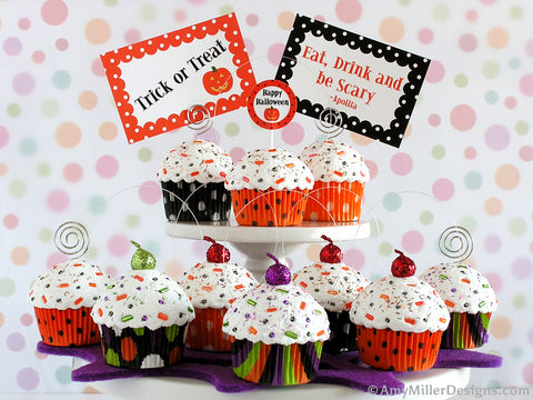 Orange & Black Stripe Mini Faux Cupcake Decoration