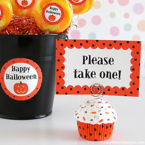 Halloween Orange and Black Polka Dot Mini Faux Cupcake Photo Note Holder