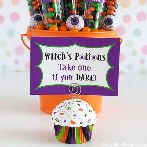 Halloween Multi Stripe Mini Faux Cupcake Photo Note Holder