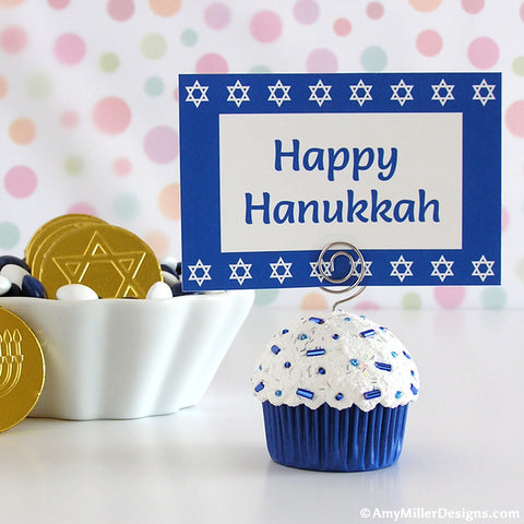 Hanukkah Mini Faux Cupcake Photo Note Holder