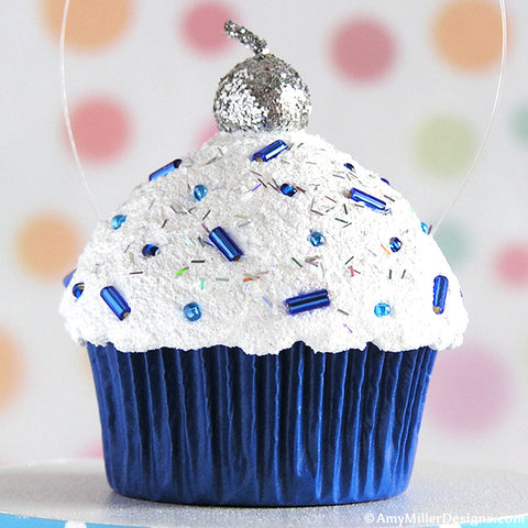 Hanukkah Blue Mini Faux Cupcake Ornament