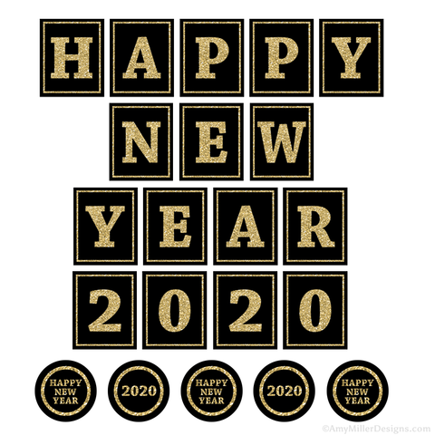 Happy New Year 2020 Printable Decorations
