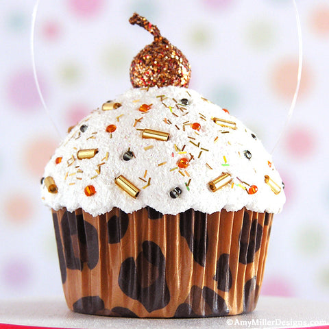 Leopard Print Mini Faux Cupcake Decoration